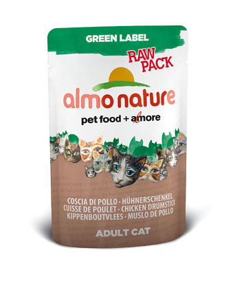 Almo Natvoer Katten Green Label Raw Kipdrumsticks 55 gram