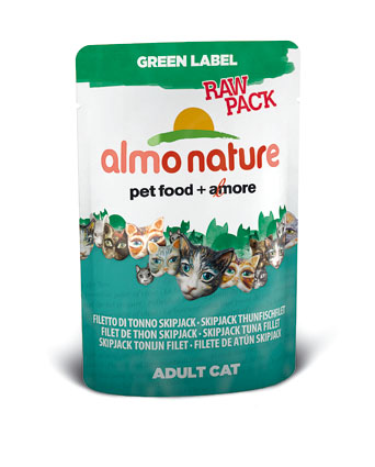 Almo Natvoer Katten Green Label Raw Skip Jack Tonijnfilet 55 gram