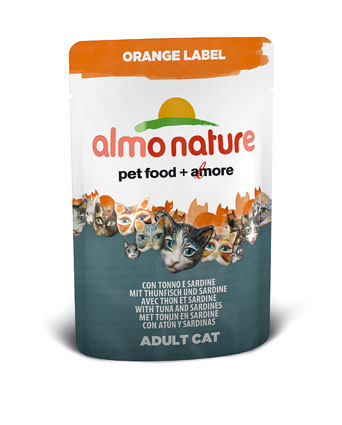 Almo Natvoer Katten Orange Label Tonijn en Sardines 70 gram