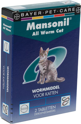 Mansonil Ontwormmiddel All Worm Katten 2 tab