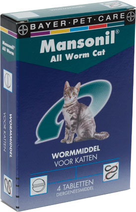 Mansonil Ontwormmiddel All Worm Katten 4 tab