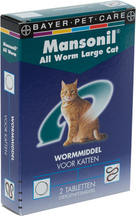 Mansonil Ontwormmiddel All Worm Grote Katten 2 tab