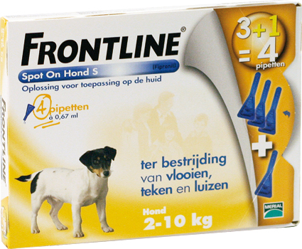 Frontline Spot on Dog S 4 Pipetten 2-10 kg