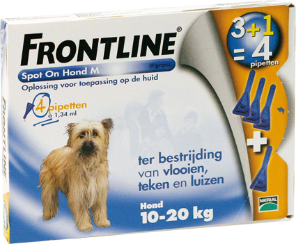 Frontline Spot on Dog M 4 Pipetten 10-20 kg