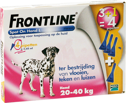 Frontline Spot on Dog L 4 Pipetten 20-40 kg