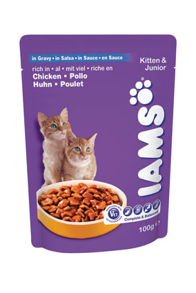 Iams Pouch Kitten/Junior in saus 100 gram