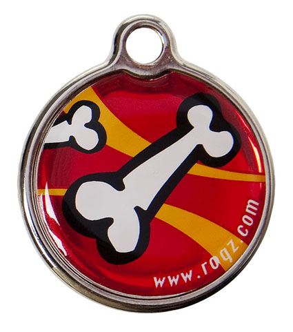 Rogz ID-tag Metal Red Bones Klein