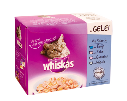 Whiskas Multi Adult Visselectie in gelei 12x100gr.